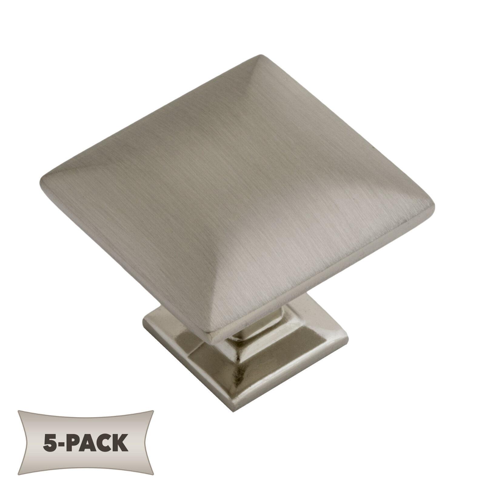 Modern Pyramid Square Kitchen Cabinet Hardware Knob 1 1 4 Satin Nickel