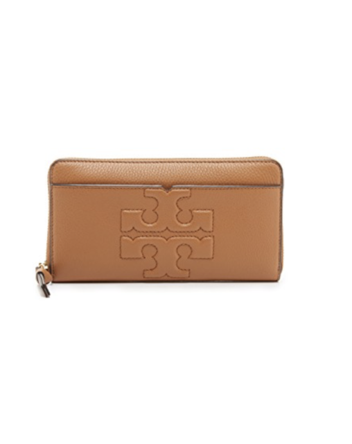 NWT TORY BURCH BOMBE T ZIP AROUND CONTINENTAL WALLET CLUTCH BAG BARK LEATHER af310d11ae858