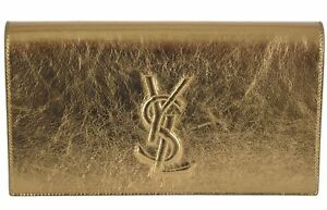 New Saint Laurent YSL 361120 Gold Leather Large Belle de Jour Clutch ... 99dc9efe7fd8c