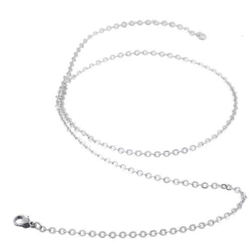 1PC Fashion En Acier Inoxydable Perles Link Chaîne Polissage Collier 50 cm