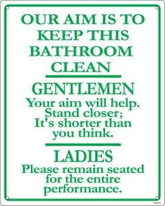 Details About Our Aim Is To Keep This Bathroom Clean Aluminium Funny Wall Sign Ss