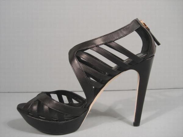 Fendi 38 7.5 Negro Cortado Sandalias De Plataforma De Cuero Auténtico Auténtico Cuero Botines de descuento 0554b7