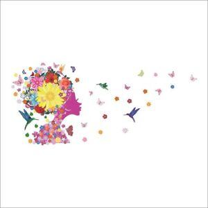 Blumenkopf-Schmetterling-Wandtattoo-Blumen-Wandsticker-Wandaufkleber-Folie