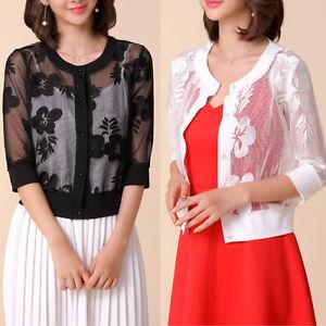 New-Women-Casual-Bolero-Shrug-Cardigan-3-4-Sleeve-AU-Size-10-12-14-16-18-20-3769