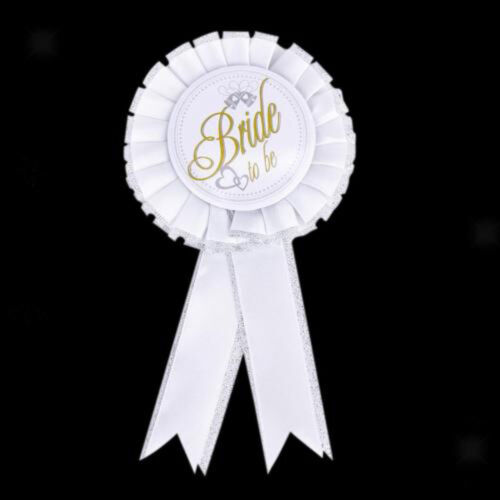 1PC BRIDE TO BE Hen Night Party Do Gift Filler Rosette Badge White /& Silver NR7