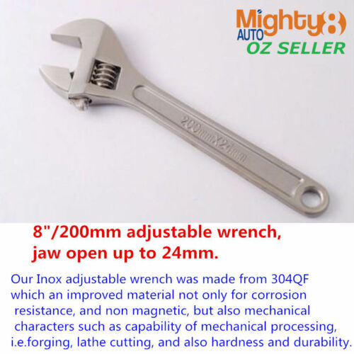 "304QF INOX Stainless Steel 8/"" Adjustable Wrench Spanner Shifter Resist Corrosion"