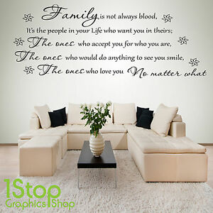 Family Is Not Always Blood Wall Sticker Quote Bedroom Love Wall
