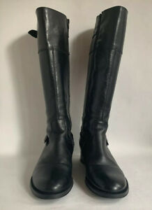 ALDO Black Leather Knee High Low Heel