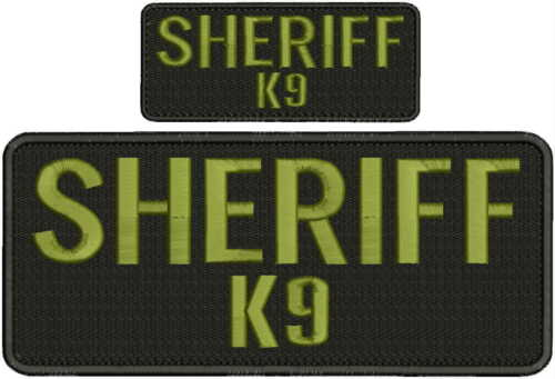 Details about  /Sheriff k9 embroidery patches 4x10 and 2x5 hook on back od green letters
