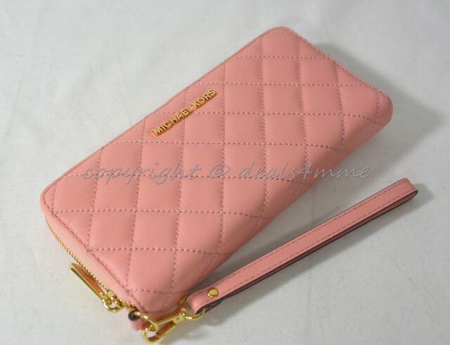 efb3b019e708 Michael Kors Quilted Leather Continental Zip Around Wallet/Wristlet in Pale  Pink