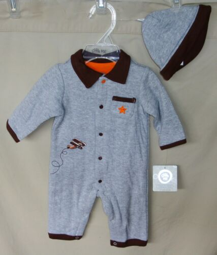 Little Me 100/% Cotton Grey HIGH FLYER Coverall with Matching Hat BOY SIZES NWT