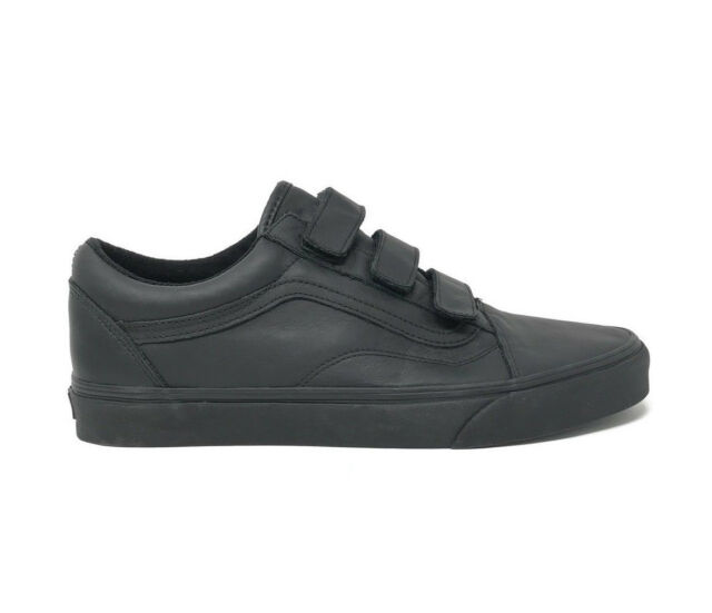 Vans Old Skool V Mono Leather Black Men s 9.5 Skate Shoes New Skateboard 5c9c6f45bf4f