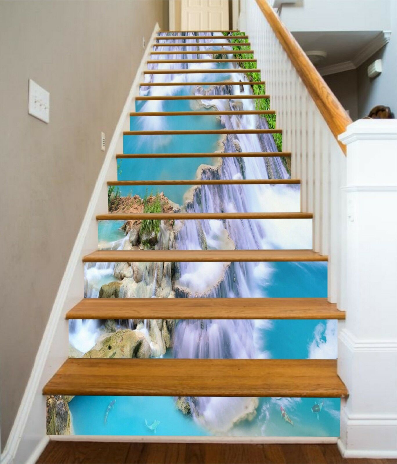 3D Bule Pond Stair Risers Decoration Photo Mural Vinyl Decal Wallpaper CA