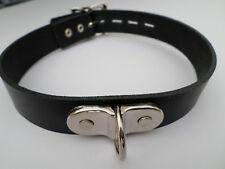 "15-18 "" fetish bondage slave collar with large d ring lockable buckle padlock"