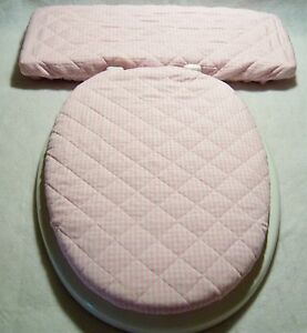 PINK White Gingham Check Quilted Elongated Toilet Seat Lid Tank Lid Cover Set