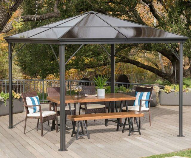 10x10 Hard Top Gazebo Aluminum Pergola Metal Large Outdoor Canopy