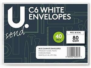U-Send-C6-Peal-amp-Seal-Envelopes-White-80gsm-16-X-11-5cm-Pack-Of-40