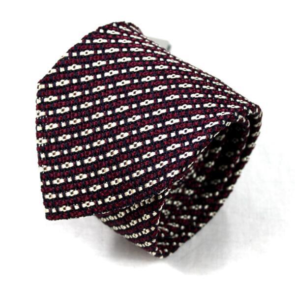 ffa613f1df5e $260 NWT Tom Ford Knit Dark Pink Black White Geometric Pattern 100% Silk Tie