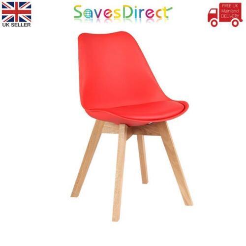 Modern Sleek Red Retro Chair Pu Leather Beech Wooden Legs Home WorkLimited Stock