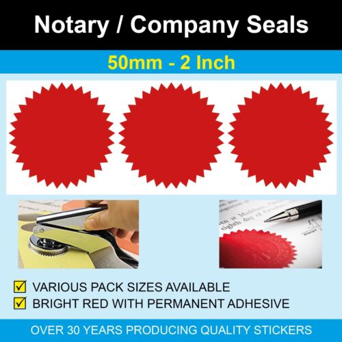 2 Inch Red Notary Seals // Company 50mm Legal or Certificate Starburst Seals