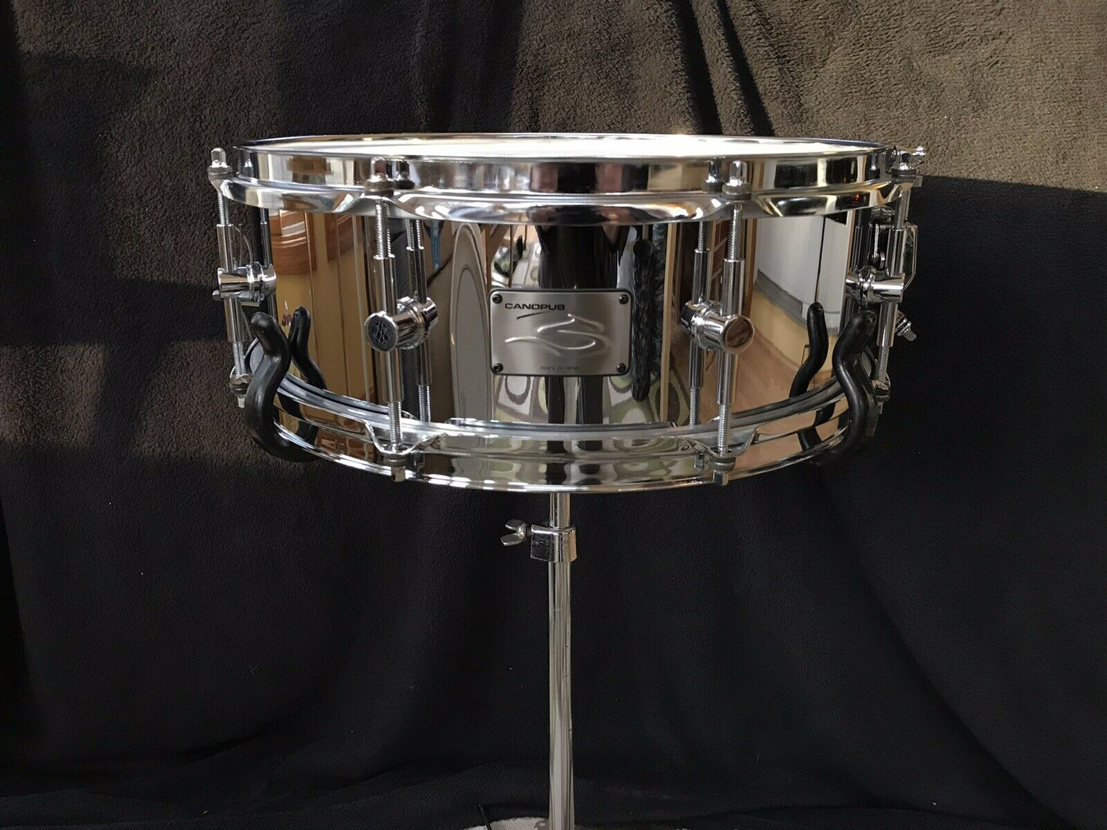 Canopus The Steel 5x14 Snare Drum Brass Lugs Excellent Cond Handcrafted In Japan