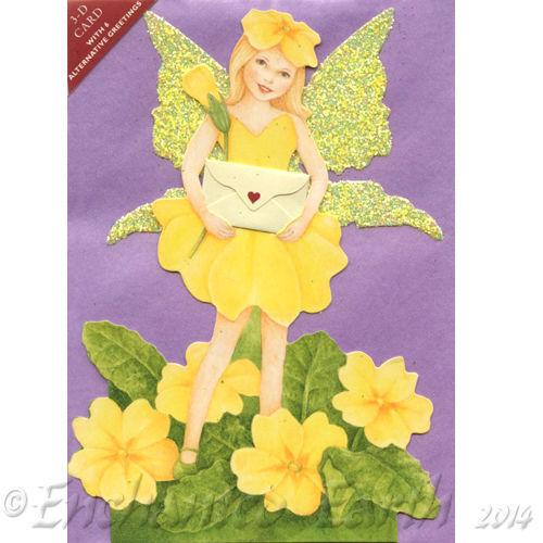 Neuf Carte 3d-Fleur Fée Carte de vœux avec paillettes/poussière de fée ailes