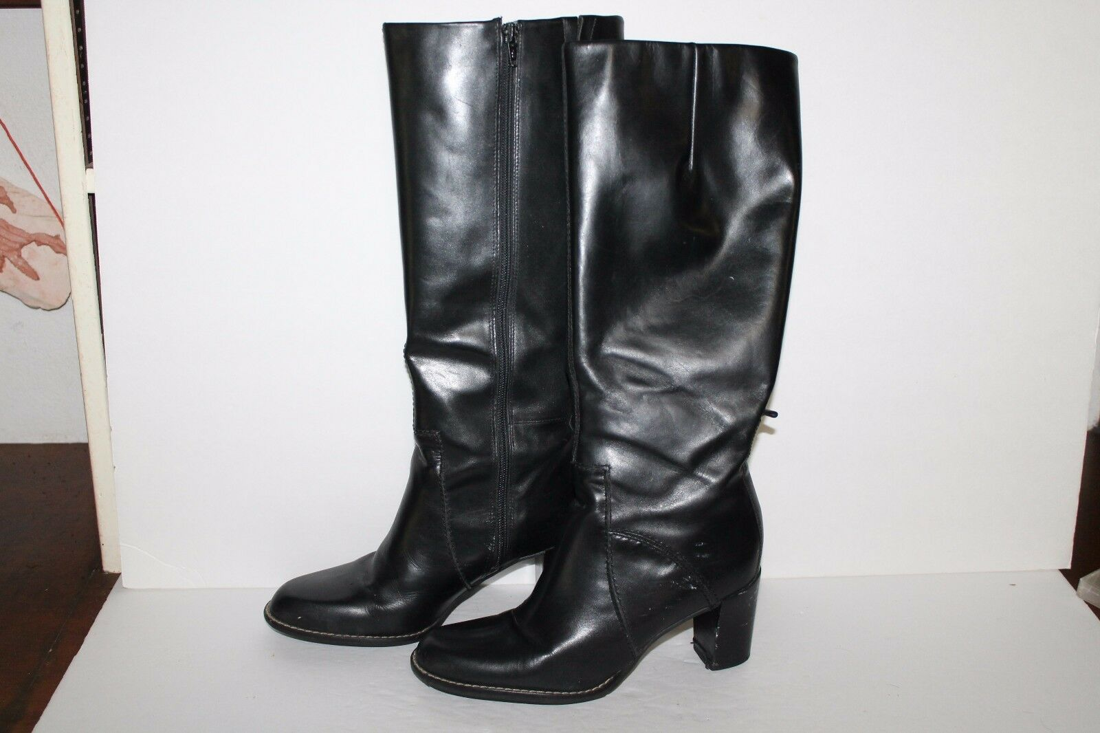 Connie Hartford Knee US Boots, Black, Leather, Women's US Knee Size 7.5 d32d39
