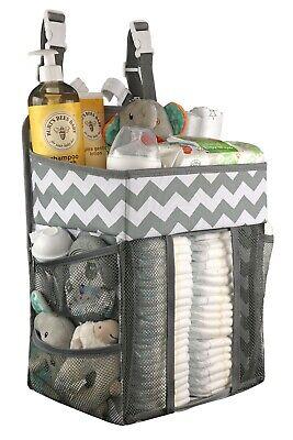 Grey Nursery Organizer Diaper Caddy Diaper Storage Organizer with Plastic Hooks