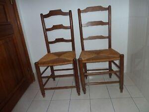 2 Chaises Anciennes Assise Paille Provenance Ariège Objet De Collection Emballage Fort