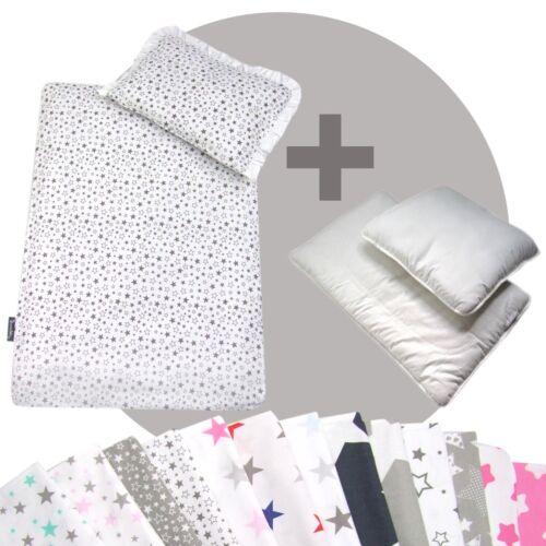 für Kinderwagen Babybett Decke+Kissen+Füllung STARS 2 Bettwäsche-Set 4-tlg