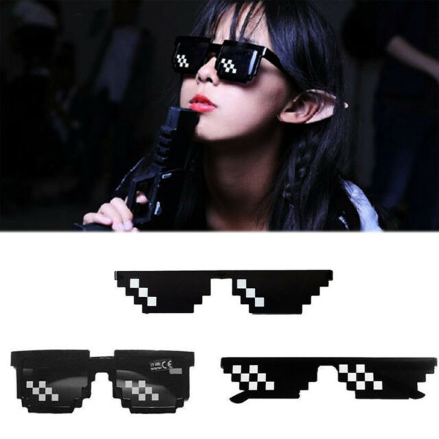 Thug Life Gafas 8 BITS Píxel Deal With It Gafas Sol Unisex gafas gafas
