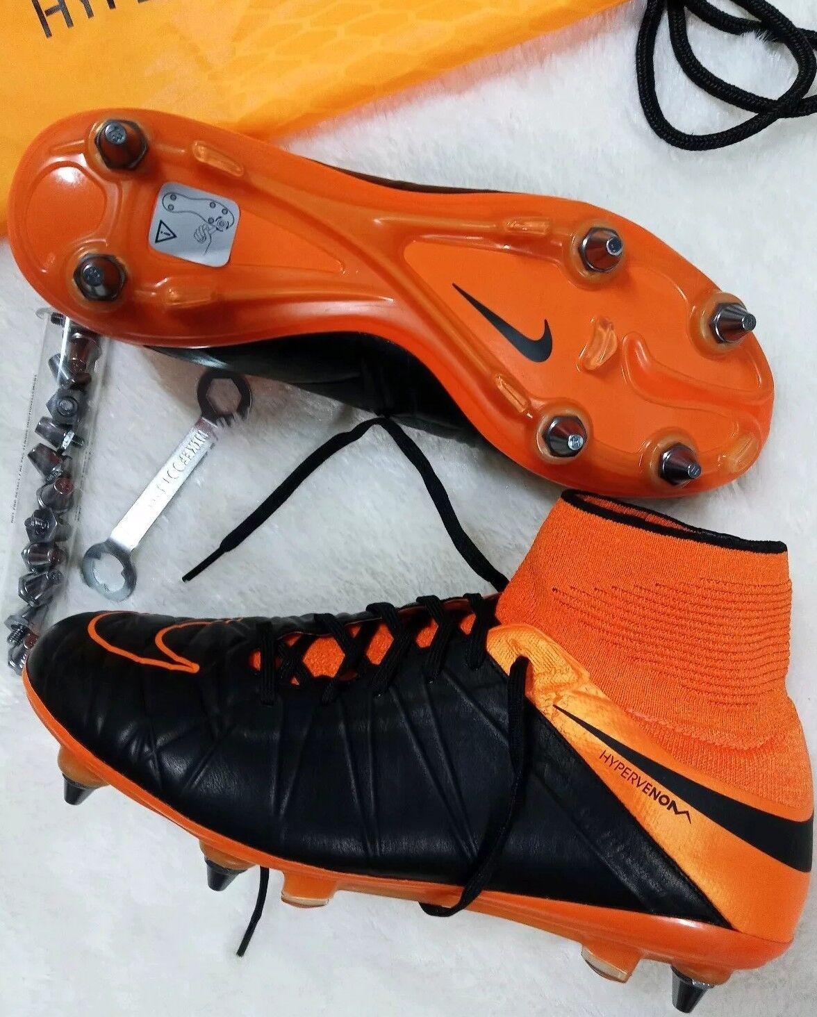 8 para Hombre Nike Hypervenom Fantasma 2 Cuero SG Pro 747500 008 Negro Naranja Fútbol
