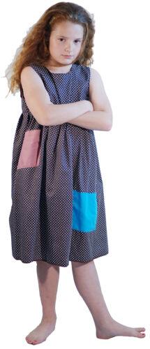 Girls BROWN DOTTY SMOCK Victorian-Edwardian-Annie-Orphan-Workhouse Fancy Dress