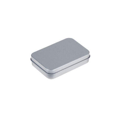 Mini Hinged Lid Tin Silver Empty Storage Box Metal Case For Money Coin Candy Sx