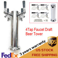 Draft Beer Tower Four 4 Tap Faucet Tap Stainless Steel For Kegerator Home Brew