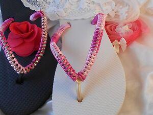 93f16348e Image is loading Pink-Slim-Havaianas-Flip-Flops-with-Swarovski-Crystals-