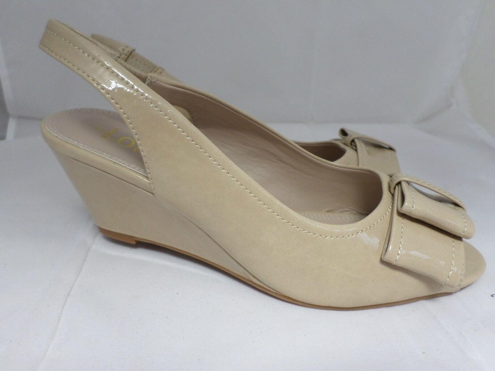 Lotus Lorelle Beige Patent Wedge Sling-Back Sandals Size 5 Uk EM 652