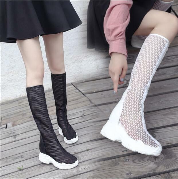 Women's Summer Soft Wedge Heel Platform Mesh Hollow High Top Boots Sandal shoes