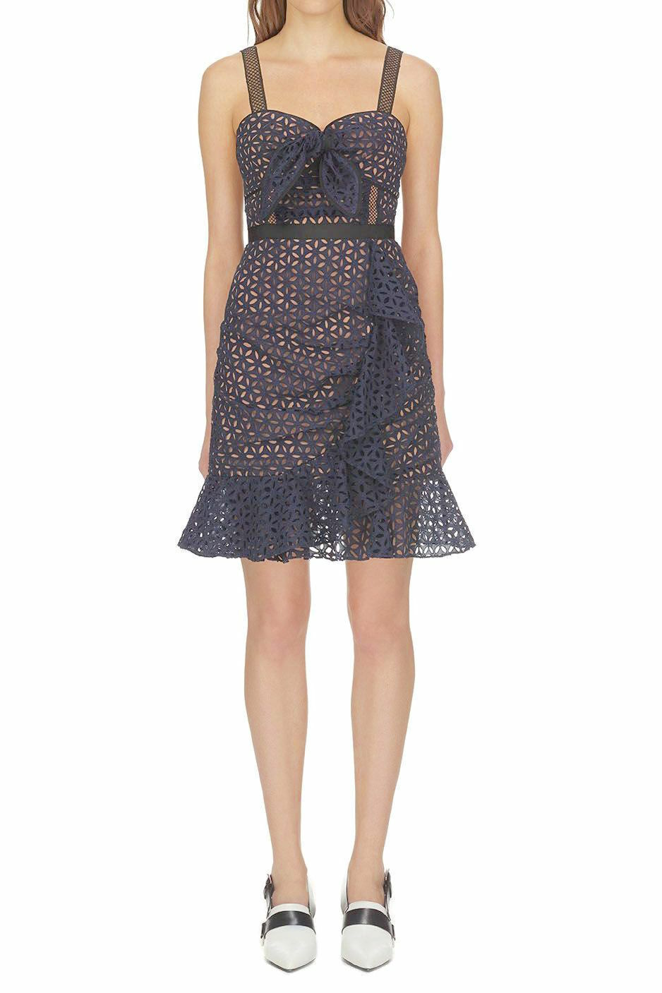 SELF PORTRAIT Navy bluee Nude Floral Eyelet Lace Broderie Anglaise Flounce 2 US 6