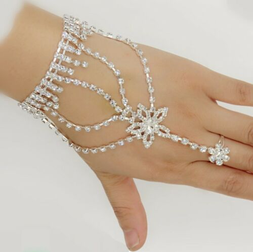 Rhinestone Crystal Star Chain Bracelet Finger Ring Hand Harness Wedding Bridal by Handmade