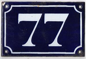 Old blue French house number 77 door gate plate plaque enamel metal sign c1900
