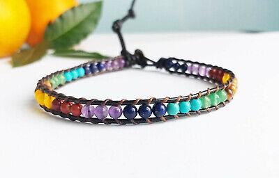 Chakra Stone One Wrap Leather Bracelets Multi Color Sweet Ebay