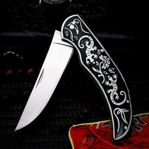 Straightback Folding Knife Pocket Hunting Survival Wild Tactical Military Combat