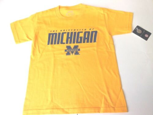 MICHIGAN WOLVERINES YOUTH YELLOW FRONT AND BACK LOGO T-SHIRT NEW