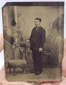 Antique-Victorian-Tintype-Photograph-Young-Man-w-Suit-Standing-Chair-2