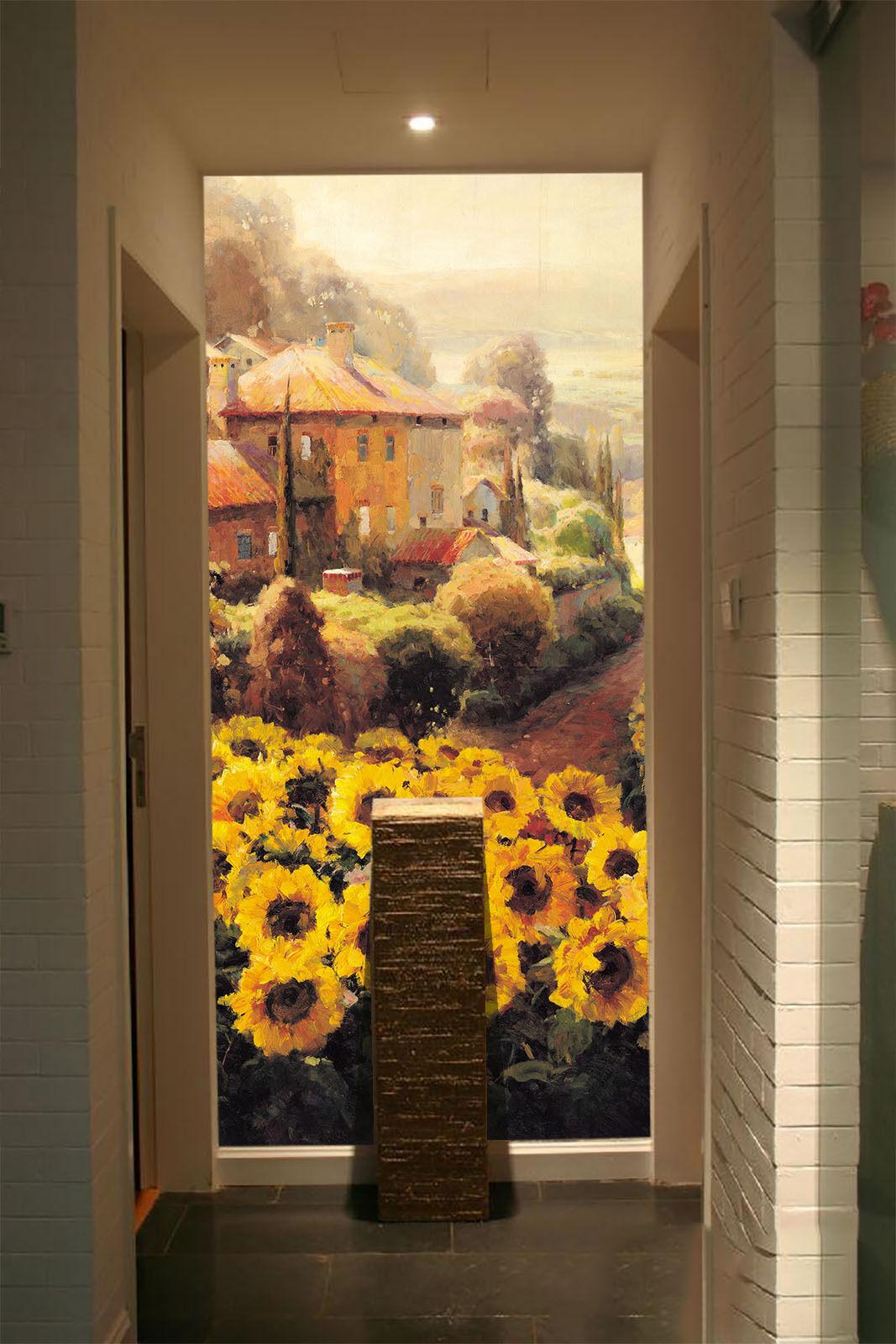 3D Sunflower Garden 1 WallPaper Murals Wall Print Decal Wall Deco AJ WALLPAPER