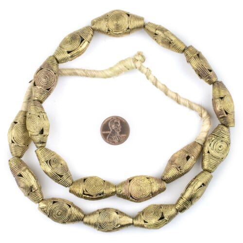 Cameroon Style Flat Bicone Brass Filigree Beads 31x16mm Ghana African Large Hole
