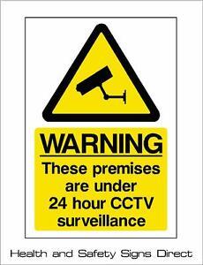 CCTV SIGN 24HR SURVEILLANCE PLASTIC RIGID - A5 150x210mm *CHEAP*