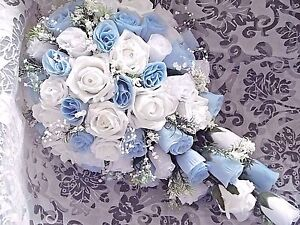 Bouquet Sposa Blu E Bianco.Baby Light Blue And White Bridal Teardrop Wedding Bouquet Crystals