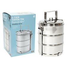 3 Tier Section Steel Tiffin Tin Food Picnic Storage Container Travel Lunch Box